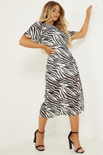 Petite Black & White Zebra Print Midi Dress